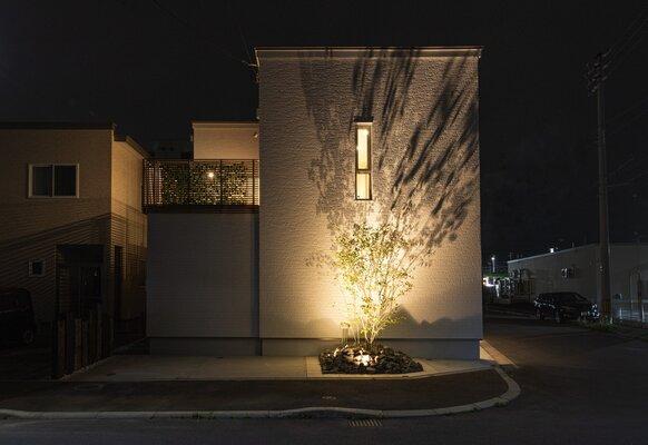 石川モデルハウス夜間ライトアップ